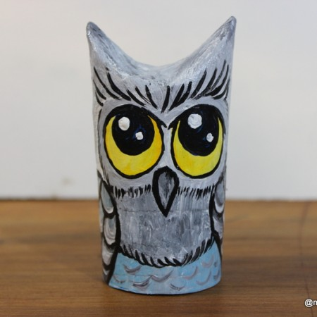 coruja feita de rolinho de papel higienico