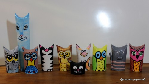 corujas e gatos feitos de rolinhos de papel higienico